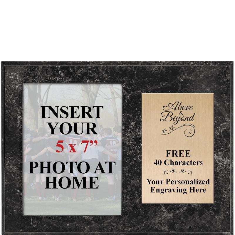 Black Marbleized Horizontal Team Photo Plaque