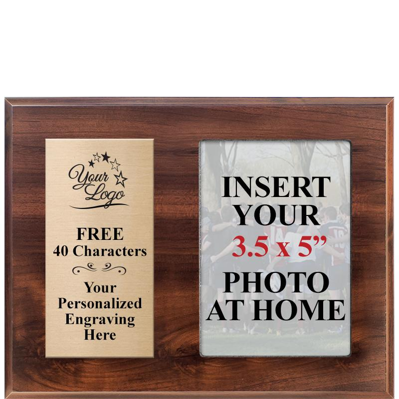 Classic Wood Horizontal Team Photo Plaque